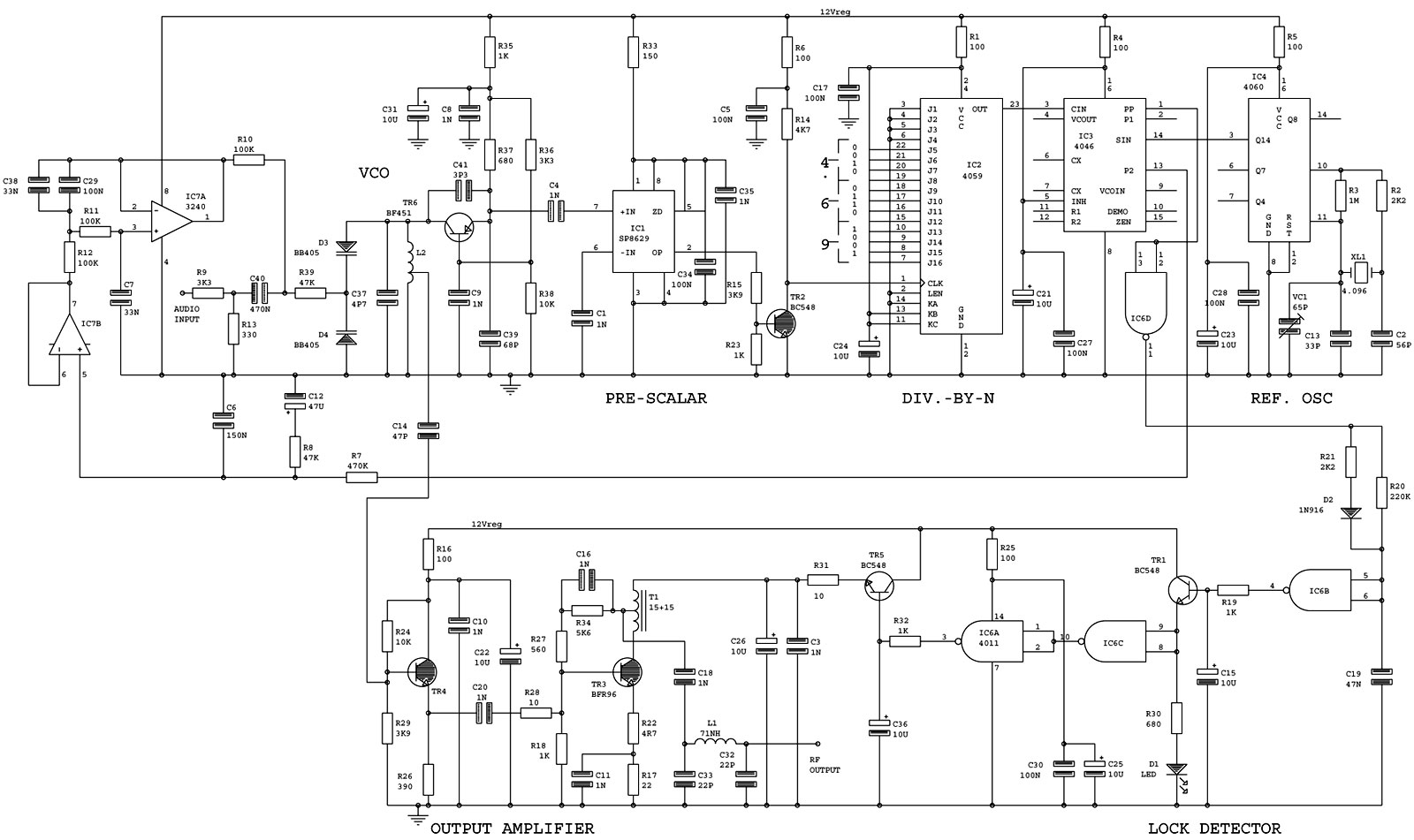 Circuit Diagrams and Schematics for FM, MW and SW transmitters and audio
